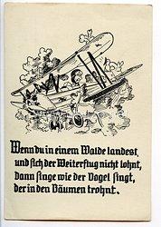 """Deutscher Luftsport-Verband ( DLV ) - Propaganda-Postkarte - """" Wenn du in einem Walde landest, ... """""""