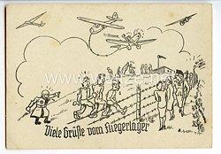 """Deutscher Luftsport-Verband ( DLV ) - Propaganda-Postkarte - """" Viele Grüße vom Fliegerlager """""""