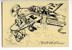 """Deutscher Luftsport-Verband ( DLV ) - Propaganda-Postkarte - """" Fallschirmpiloten-Schule Garantie-Erfolg """""""