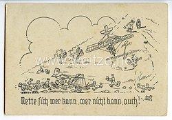 """Deutscher Luftsport-Verband ( DLV ) - Propaganda-Postkarte - """" Rette sich wer kann, wer nicht kann, auch ! """""""