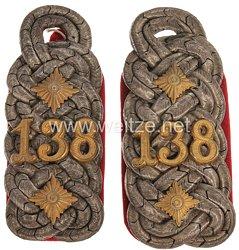 Preußen Paar Schulterstücke für einen Oberst und wahrscheinlich Regimentskommandeur im 3. Unter-Elsässischen Infanterie-Regiment Nr. 138