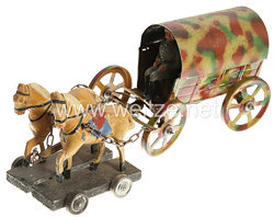 Blechspielzeug - Heer Bagagewagen mit Kutschbock und 2 Pferden