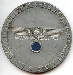"""SA - große nichttragbare Siegerplakette - """" Reichswettkämpfe der SA Berlin 1939 - Vierter Preis """""""