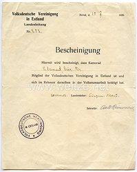 III. Reich - Volksdeutsche Vereinigung in Estland - Bescheinigung