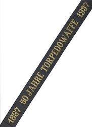 "Kriegsmarine Traditionsmützenband ""1887 50 Jahre Torpedowaffe 1937"""