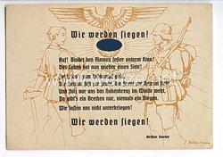 """III. Reich - farbige Propaganda-Postkarte - """" Wir werden siegen ! """""""
