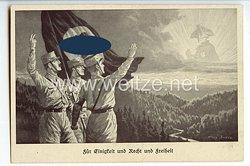 """III. Reich - Propaganda-Postkarte - """" Für Einigkeit und Recht und Freiheit """" ( SA-Männer grüßen Friedrich den Großen )"""