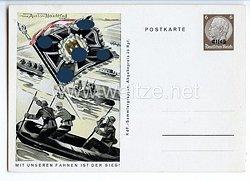 """III. Reich - farbige Propaganda-Postkarte - """" Mit unseren Fahnen ist der Sieg """" - Pioniere"""