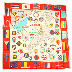 USA Korea War: Souvenir Scarf United Nations