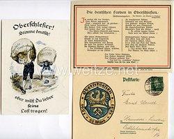 """Weimarer Republik / Oberschlesien - 3 farbige Propaganda-Postkarten """" Oberschlesier ! Stimme deutsch ! oder willst Du lieber seine Last trage ! """", etc."""