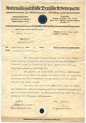 NSDAP Gau München-Oberbayern Kreis München Ortsgruppe Untergiesing - Anschreiben zur Enthebung seines Amtes als Politischer Leiter