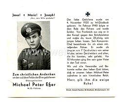 Wehrmacht Heer Trauerkarte eines Obergefreiten und M.G. Führer