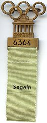 XI. Olympischen Spiele 1936 Berlin - Offizielles Teilnehmerabzeichen für einen Sportler in der Sportdisziplin Segeln