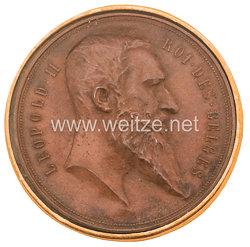 Belgien Leopold II. bronzene Medaille zur Weltausstellung 1894