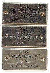 NSKK - 3 Siegerplaketten für Mercedes, BMW und Wanderer - Oktober 1935 und November 1937