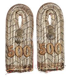 Preußen 1. Weltkrieg Paar Schulterstücke für einen Leutnant im Feldartillerie-Regiment Nr. 500
