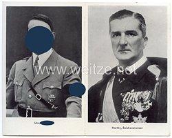 """III. Reich - Propaganda-Postkarte - """" Adolf Hitler - Unser Führer und Horthy, Reichsverweser """""""