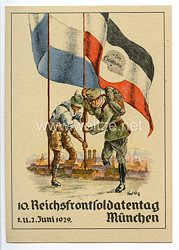 """Stahlhelmbund - farbige Propaganda-Postkarte - """" 10. Reichsfrontsoldatentag München 1.u.2. Juni 1929 Der Stahlhelm """""""