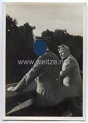 """III. Reich - Propaganda-Postkarte - """" Die historische Begegnung am 18.6.1940 - Auf dem Balkon des Führerbaues """" ( Mussolini / Hitler )"""