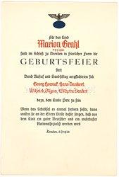 III. Reich - Schmuckblatt zur Patenschaft eines Kindes des Jahrgangs 1941