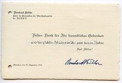 III. Reich - Bernhard Köhler - Leiter der Kommission für Wirtschaftspolitik der NSDAP - Glückwunschkarte zum neuen Jahr