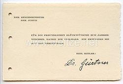 III. Reich - Der Reichsminister der Justiz Dr. Franz Gürtner - Glückwunschkarte zum neuen Jahr