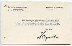 III. Reich - Reichsverkehrsminister Generaldirektor der Deutschen Reichsbahn Dr.-Ing.eh Julius Dorpmüller - Glückwunschkarte zum neuen Jahr