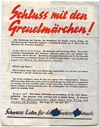 "2. Weltkrieg Propagandaflugblatt - "" Schluss mit den Greuelmärchen ! """