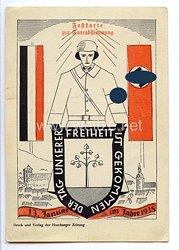 """III. Reich - farbige Propaganda-Postkarte - """" Der Tag unserer Freiheit ist gekommen - 13. Januar im Jahre 1935 - Festkarte zur Saarabstimmung """""""