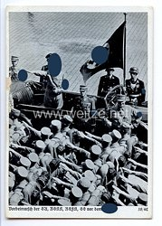 """III. Reich - Propaganda-Postkarte - """" Reichsparteitag Nürnberg 1938 - Vorbeimarsch der SA, NSKK, NSFK, SS vor dem Führer """""""