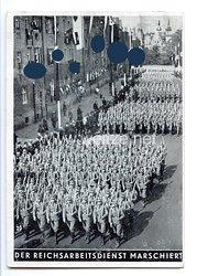 """III. Reich - Propaganda-Postkarte - """" Reichsparteitag Nürnberg 1935 - Der Reichsarbeitsdienst marschiert """""""