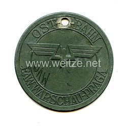 Blanko Marke der Firma Deumer für Angehörige der OAW Ostbahn - Eisenbahn-Ausbesserung-Werk Warschau - Praga