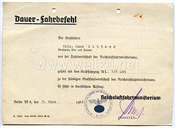 Luftwaffe - Dauer-Fahrbefehl für einen Kraftfahrer und Unteroffizier von der Fahrbereitschaft des Reichsluftfahrtministerium