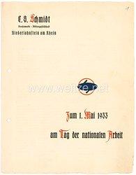 III. Reich - Schmuckblatt zum 1. Mai 1933 am Tag der nationalen Arbeit