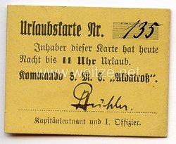 """Kaiserliche Marine - Urlaubskarte eines Angehörigen vom Kommando S.M.S."""" Albatroß """""""