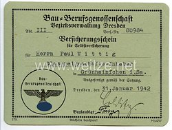 III. Reich - Bau-Berufsgenossenschaft Bezirksverwaltung Dresden - Versicherungsschein für Selbstversicherung