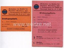 NSDAP - Weihefeier des Hauses der Deutschen Erziehung und 2. Reichstagung des NSLB in Bayreuth vom 11.-13.7.1936 - Wohnungskarte und Verpflegungskarte