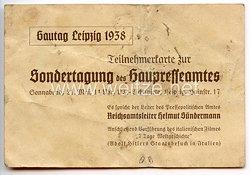 III. Reich - Gautag Leipzig 1938 - Teilnehmerkarte zur Sondertagung des Gaupresseamtes
