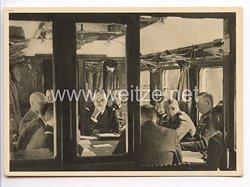 """III. Reich - Propaganda-Postkarte - """" Adolf Hitler - Compiègne 1940 - Während der Waffenstillstandsverhandlungen im historischen Wagen """""""