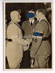 """III. Reich - Propaganda-Postkarte - """" Die historische Begegnung am 18.6.1940 in München - Führerbau : Im Arbeitszimmer des Führers """" ( Mussolini / Hitler )"""