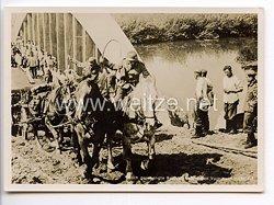 """III. Reich - Propaganda-Postkarte - """" Adolf Hitler in Polen - Auch gesprengte Brücken halten den Vormarsch nicht auf """""""