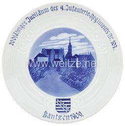 """Ehrenschale aus Meißner Porzellan zum""""200jähriges Jubiläum des 4. Infanterie-Regiments Nr. 103 Bautzen 1909."""""""