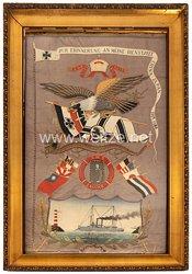 Kaiserliche Marine - S.M.S JaguarGroßes Erinnerungsbild in Seidenstickerei