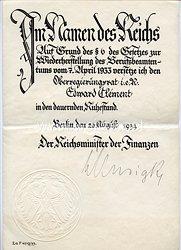 III. Reich - Originalunterschrift von Reichsminister der Finanzen Graf Schwerin von Krosigk