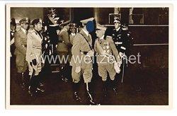 "III. Reich - Propaganda-Postkarte - "" Adolf Hitler in Italien - Ankunft in Rom Bahnhof Ostia """