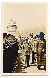 """III. Reich - Propaganda-Postkarte - """" Adolf Hitler in Italien - Auf Panzerschiff """" Cavour """" während der Flottenparade Neapel """""""