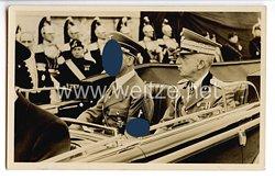 """III. Reich - Propaganda-Postkarte - """" Adolf Hitler in Italien - Auf dem Wege zur Truppenparade in Rom """""""