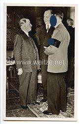 """III. Reich - Propaganda-Postkarte - """" Adolf Hitler und das Sudetenland - Der Führer im Gespräch mit Ministerpräsident Daladier 29.9.38 """""""