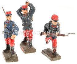 Lineol - Frankreich 3 Soldaten stürmend mit Karabiner, Handgranate werfend und Kolbenschläger