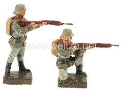 Lineol - Heer 2 Soldaten mit Tornister stehend und kniend schießend